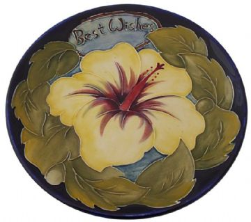 Moorcroft Pottery Best Wishes Plate With Floral Design